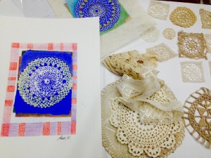 Lace material and print result